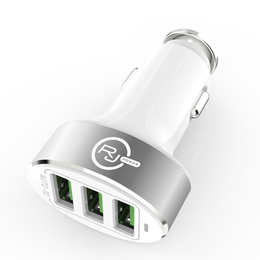RJ Power Premium 25W 3-Port USB 5.1A Car Charger with Smart ID - White/Silver