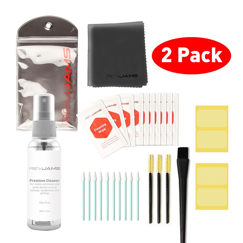 RevJams 31pc Cleaning Kit for Apple AirPods, Pro, & AirPods 2 (2 PACK)- Includes Exclusive, Safe Antibacterial Cleaning Solution, Microfiber Cloth, Safe Brushes, Dust Stickers, Swabs, and More, Improved!