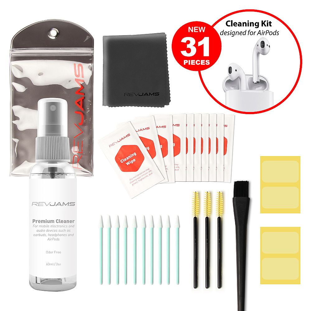 RevJams 31pc Cleaning Kit for Echo Buds, Sony WF-1000XM3, Jabra Elite 65t Earbuds - Includes Safe Exclusive Antibacterial Cleaning Solution, fiber Cloth, Safe Brushes, Dust Stickers, Swabs, and More