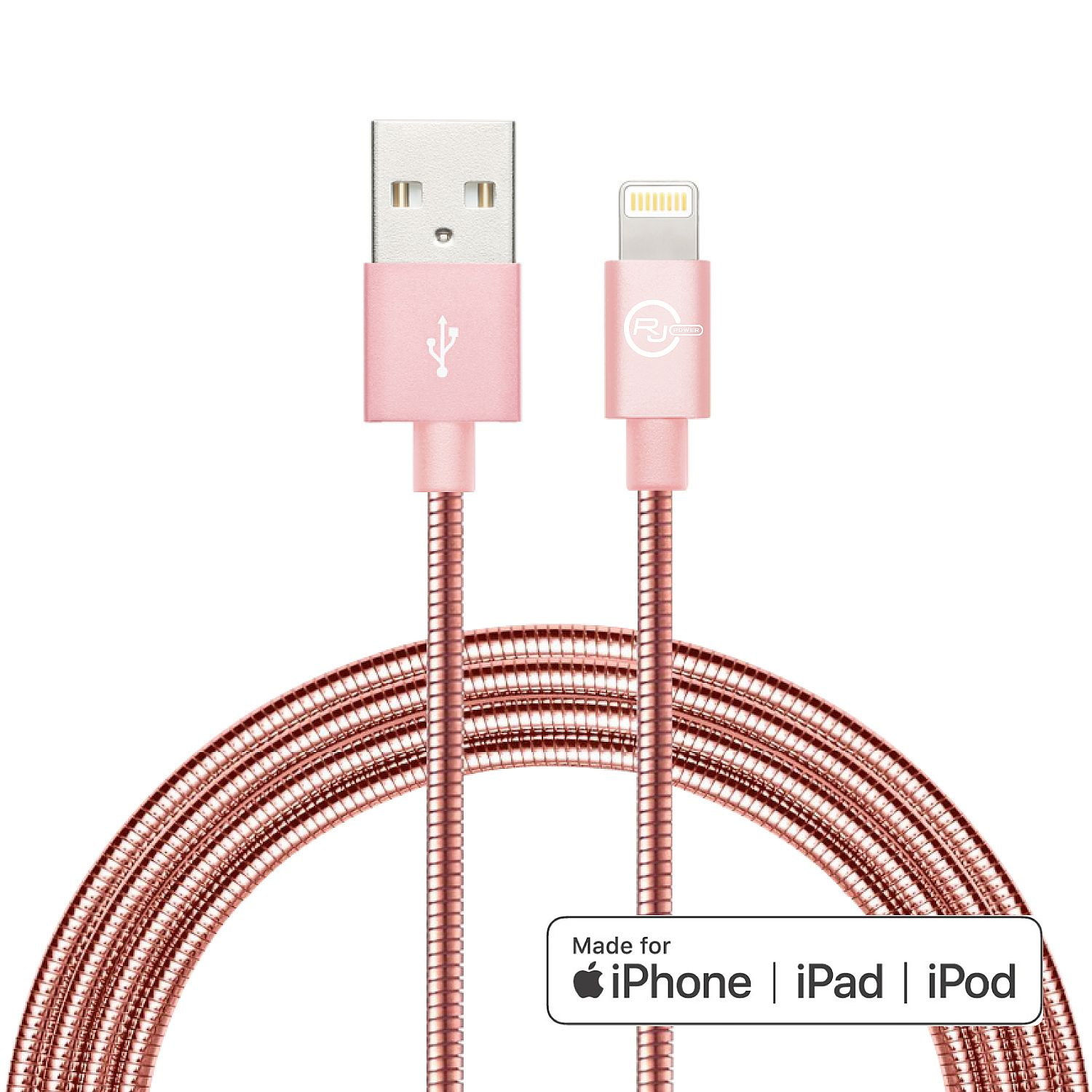 RJ Power Premium Metallic Sync/Charge Cable with Lightning connector, 3 Ft- Rose Gold