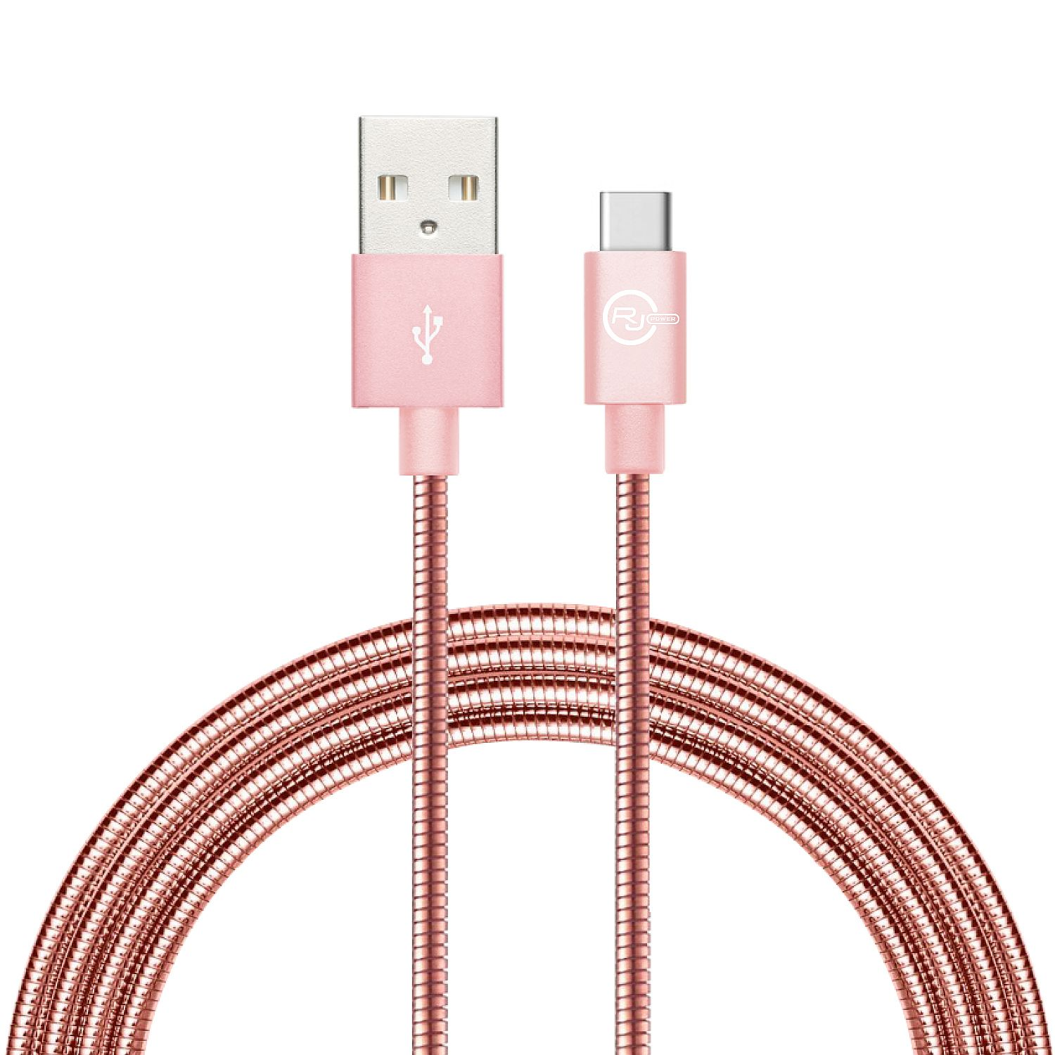 RJ Power Premium Metallic Sync/Charge Cable with Type C connector, 3 Ft- Rose Gold