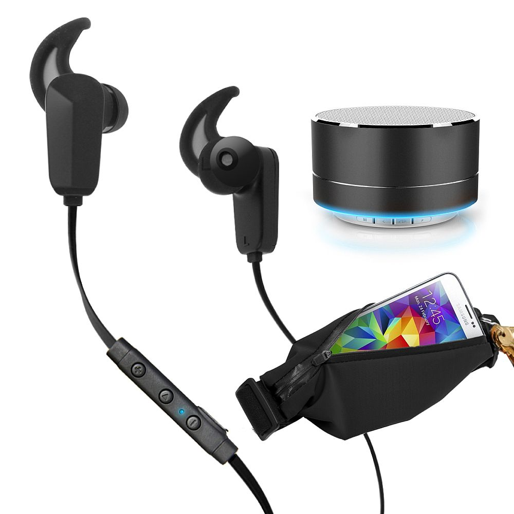 RevJams Active Pro Bundle - Bluetooth Earbuds + waist pack + RevJams Satellite Bluetooth Speaker